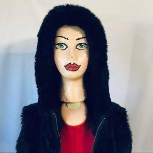 Ann Taylor Loft Black Faux Fur Vest with Hood
